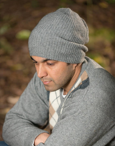 Image of Silver grey unisex slouch beanie hat