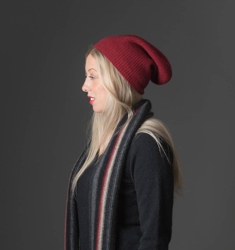 Berry Red Slouch Beanie Hat in Possum Merino Wool Unisex - NX677