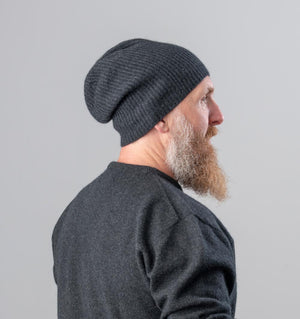 Possum merino wool slouch beanie charcoal grey