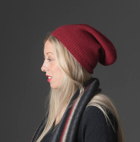 Native World Berry Red Slouch Beanie Hat in Possum Merino Wool Unisex - NX677