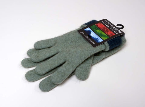 Seafoam Women's Two Tone Gloves Possum Merino Wool - NX688