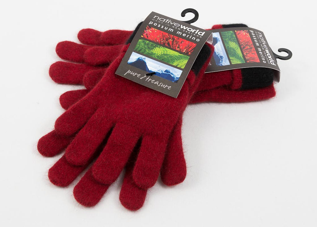 Native World Berry Women's Two Tone Gloves Possum Merino Wool - NX688
