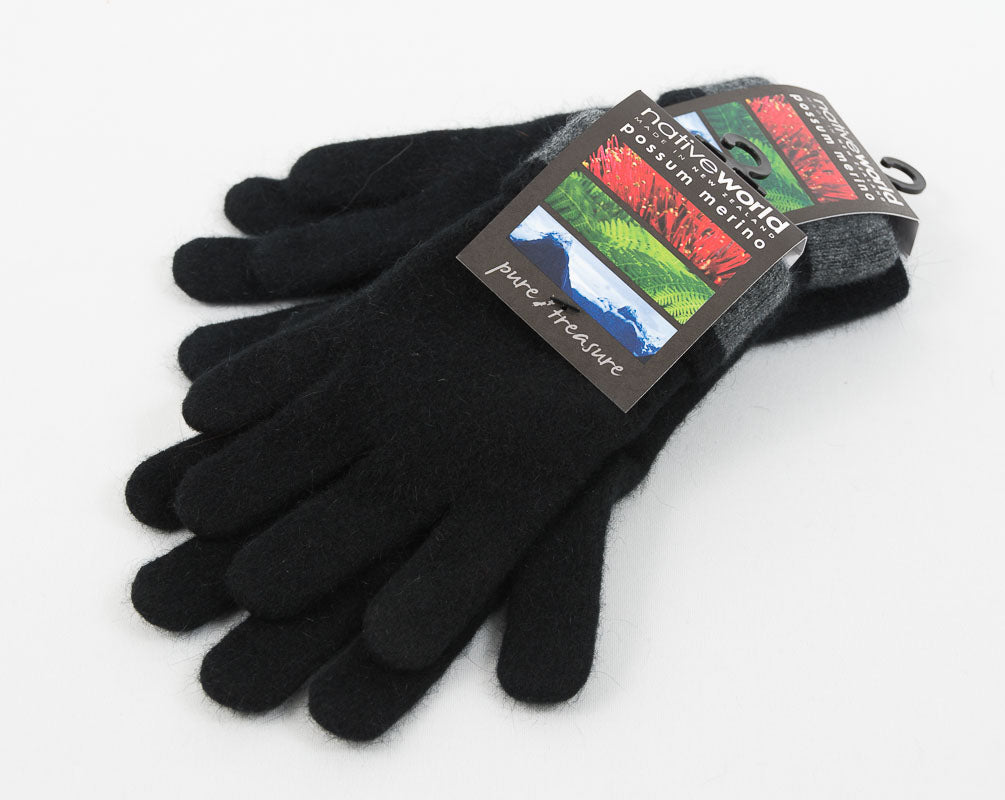 Native World Black Women's Two Tone Gloves Possum Merino Wool - NX688