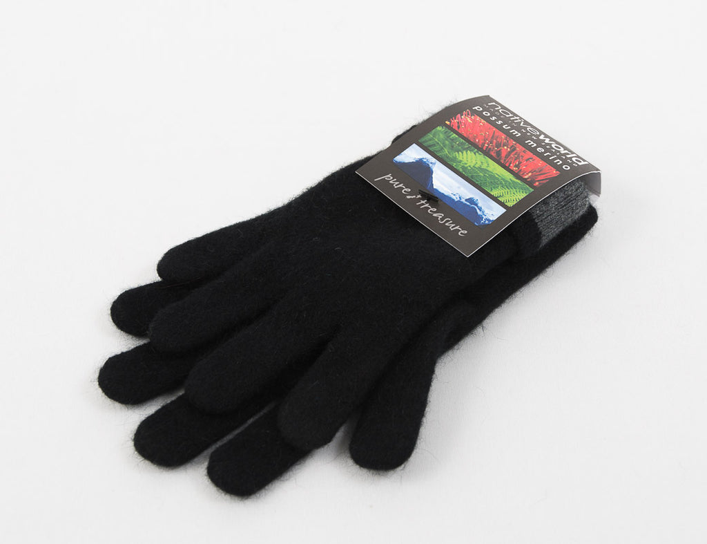 Black Women's Two Tone Gloves Possum Merino Wool - NX688
