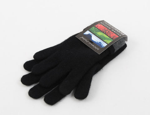 Image of Native World Black Women's Two Tone Gloves Possum Merino Wool - NX688
