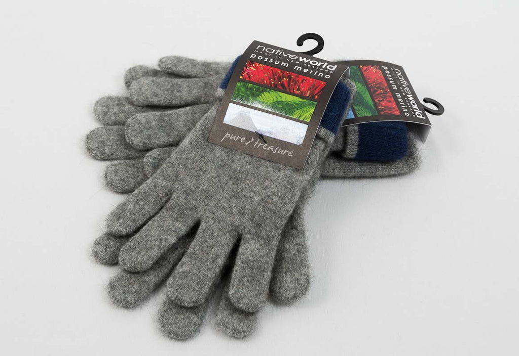 Silver Women's Two Tone Gloves Possum Merino Wool - NX688
