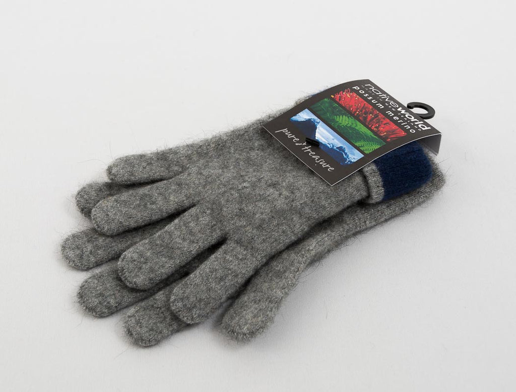 Native World Silver Women's Two Tone Gloves Possum Merino Wool - NX688