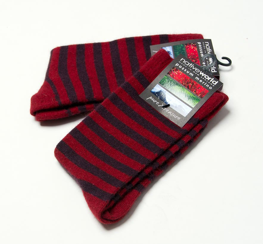 Berry (Red-Elderberry) Women's Striped Socks - NX691
