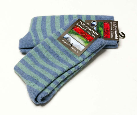 Native World Bluebell (Blue-Topaz) Women's Striped Socks - NX691