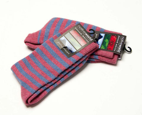 Image of Native World Raspberry Pink Blue Women's Striped Wool Socks - NX691
