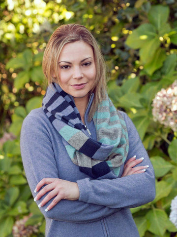 Bluebell 4-Tone Block Colour Loop Scarf - NX694