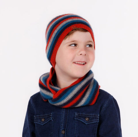 Kids wool loop scarf in ruby red, blue and light grey stripes