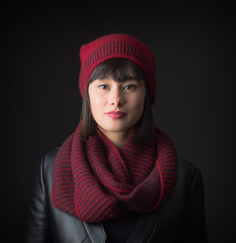 Berry Red Brioche Stitch Loop Scarf - NX721