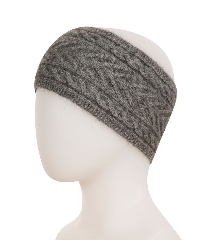 Native World Silver Grey Cable Knit Headband - NX725