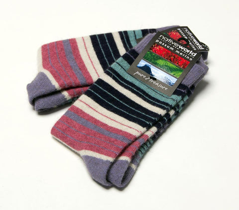Image of Native World Orchid Purple Aqua Women's Striped Socks - NX731