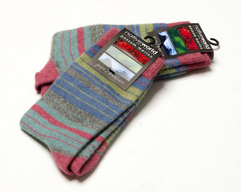 Raspberry (Pink-Blue) - Women's Striped Socks - NX731