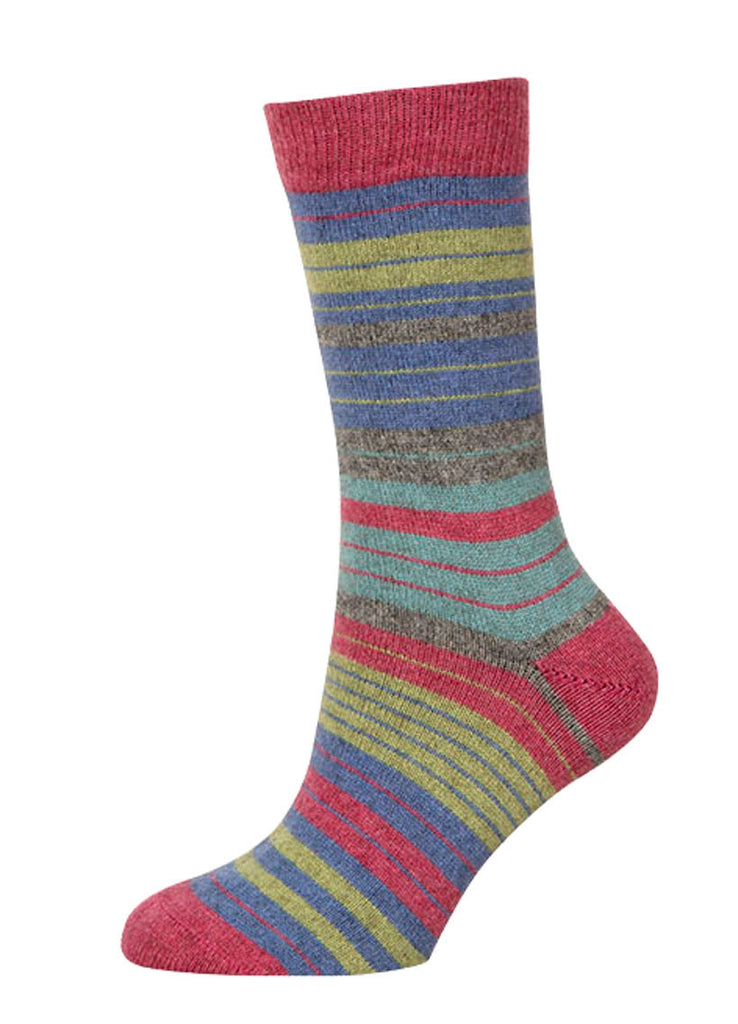 Native World Raspberry Pink Blue Green - Women's Striped Socks - NX731