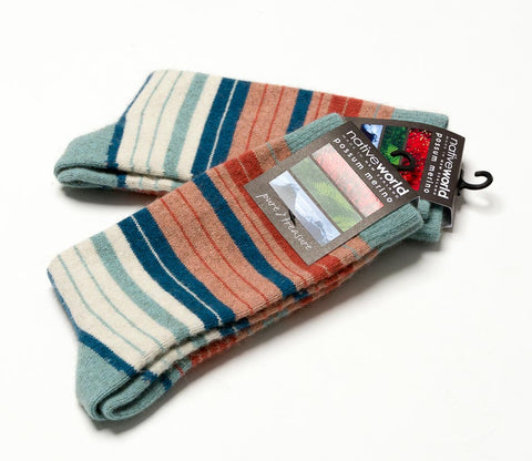 Topaz (Aqua-Coral) - Women's Striped Socks - NX731