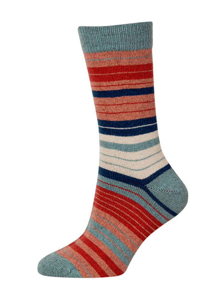 Native World Topaz Aqua Coral Women's Striped Socks - NX731