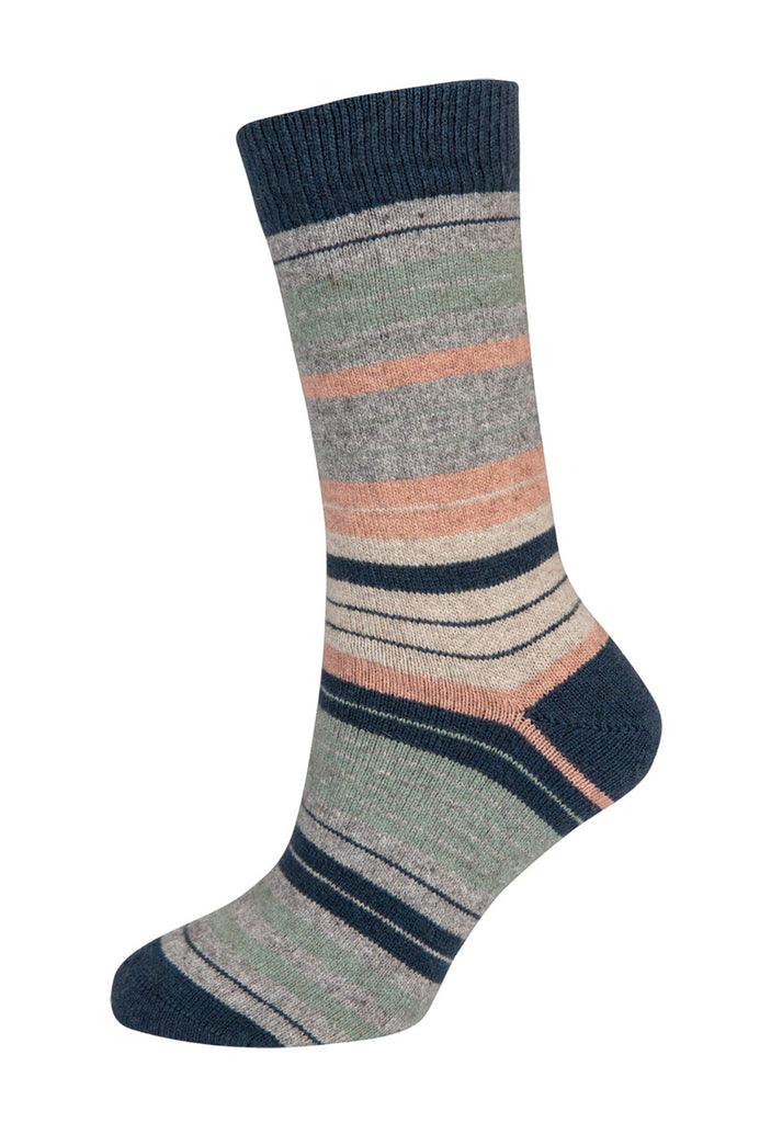 Ocean (Seafoam-Pearl) - Women's Striped Socks - NX731