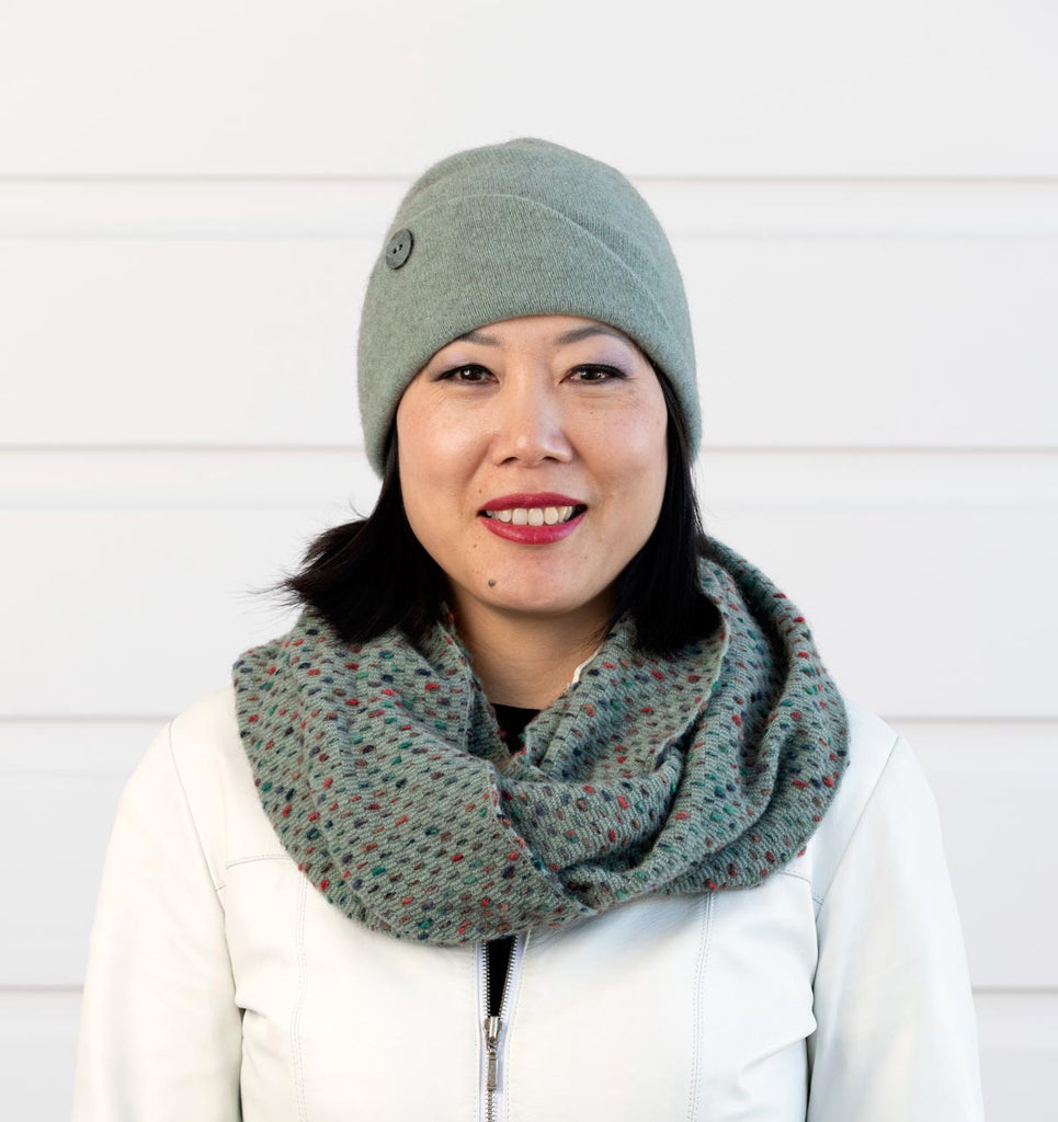 Seafoam green flip possum and wool beanie for women