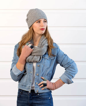 Silver Grey Endless Lace Loop Scarf - NX479