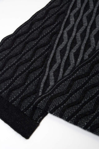 Possum & Merino Wool Black Dune Scarf - NX806