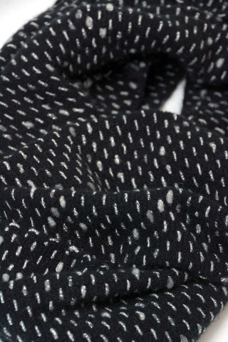 Possum Merino Wool Black Endless Loop Dot Scarf - NX807