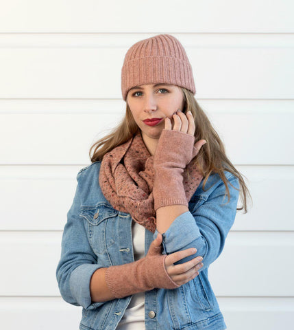 Image of Pearl pink women's ribbed beanie in possum and merino wool