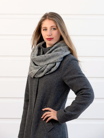 Image of Possum Merino Silver Grey Endless Loop Dot Scarf - NX807