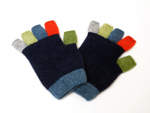 Image of Native World Twilight Blue Crazy Kids Fingerless Gloves - NX811