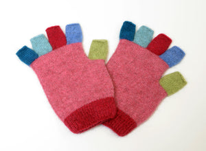 Native World Raspberry Pink Crazy Kids Fingerless Gloves - NX811