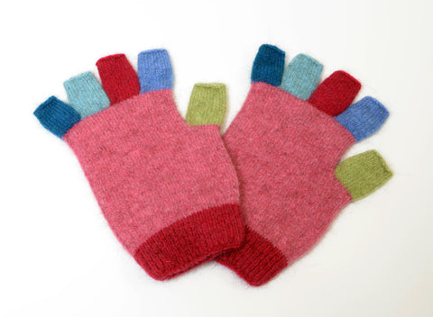 Image of Native World Raspberry Pink Crazy Kids Fingerless Gloves - NX811