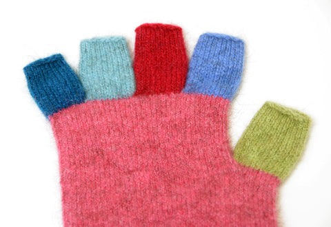 Raspberry Pink Crazy Kids Fingerless Gloves - NX811