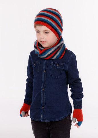 Kids fingerless wool gloves in ruby red multi colours
