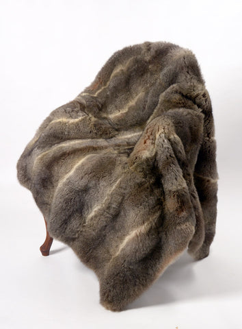 Natural Warm Grey Possum Fur Throw New Zealand