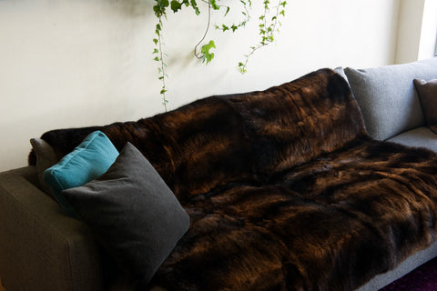 Natural Reddish Brown Possum Fur Throw