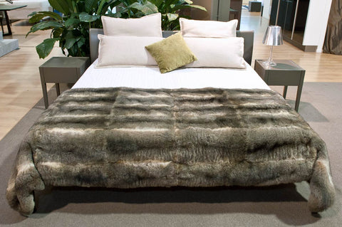 Natural Warm Grey Possum Fur Throw Bed Footer