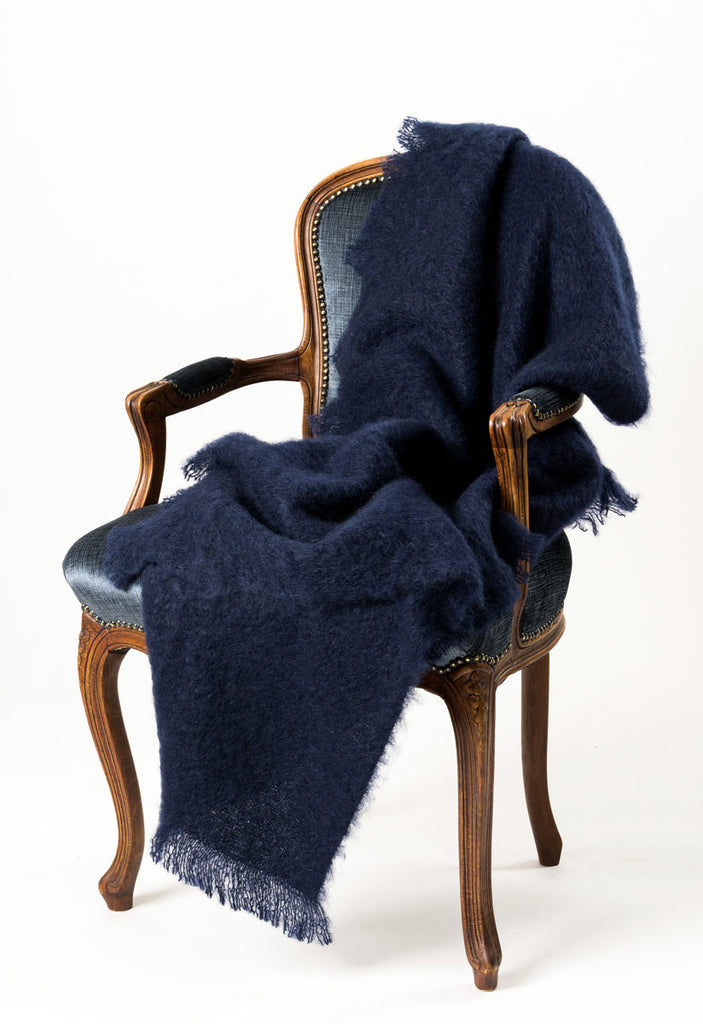 Mohair Throw Rug Australia - Windermere Navy Blue
