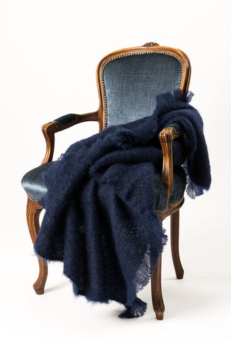 Navy Blue Mohair Throw Blanket