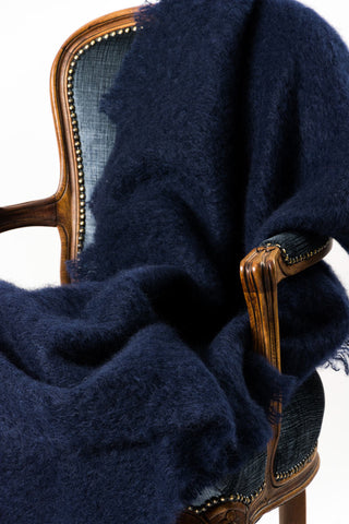 Windermere Navy Blue Mohair Throw Blanket