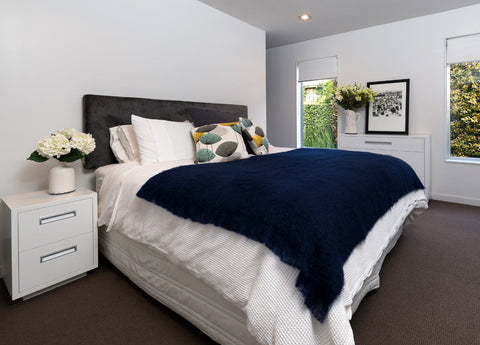 Image of Mohair Bed Blanket Windermere Navy Blue
