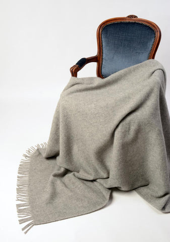 Image of Nevis ash grey wool blanket NZ wool