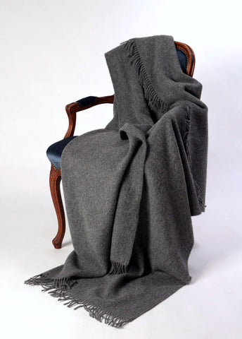 Nevis NZ wool throw blanket charcoal grey