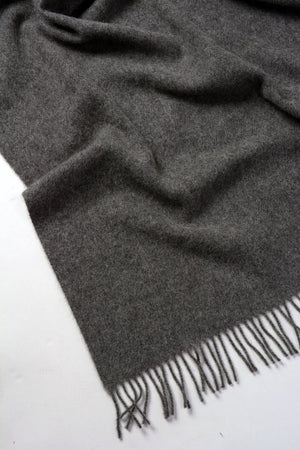 Nevis Lambswool Throw Blanket - Charcoal Grey