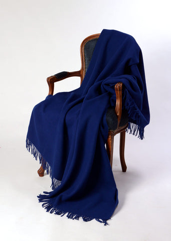 Image of Nevis wool blanket cobalt blue