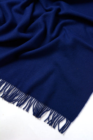Nevis Lambswool Throw Blanket - Deep Cobalt Blue