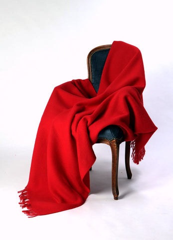 Nevis Flame Red Wool Throw Blanket