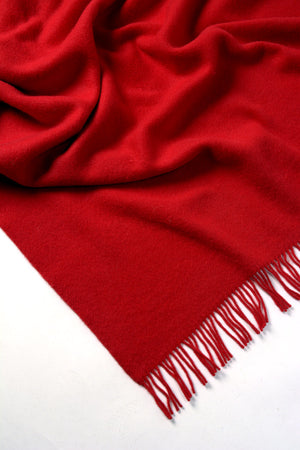 Nevis Lambswool Throw Blanket - Flame Red