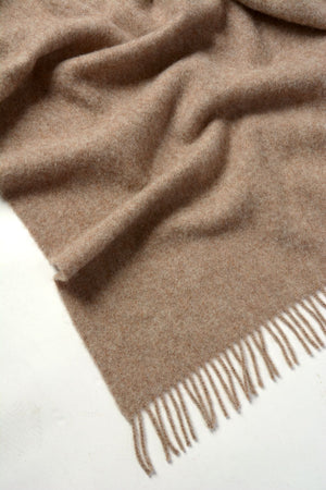 Nevis Lambswool Throw Blanket - Oatmeal Beige
